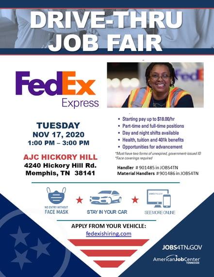 FedEx Express DRIVE THRU Job Fair NOV 17 2020_