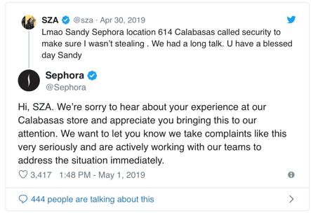 SZA Sephora Tweet