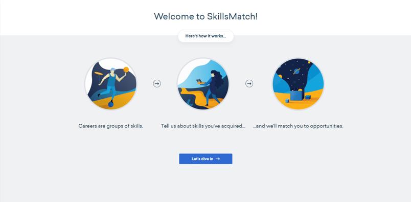 SkillsMatch Home screen